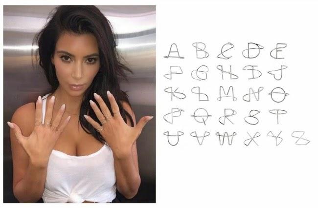 Bijuterias com letras - Anéis da Kim Kardashian