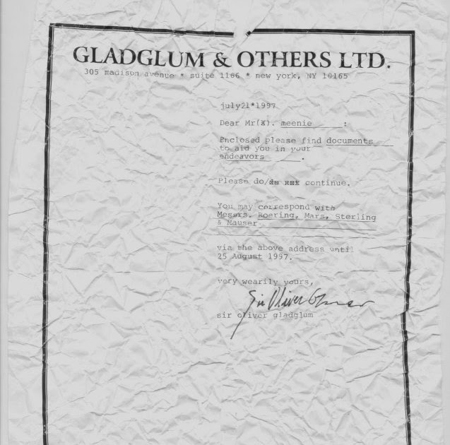 Stiffs Incorporated: A letter from Sir Oliver Gladglum
