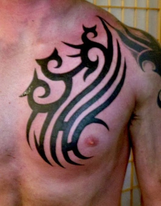 Black Tribal Tattoos on Chest