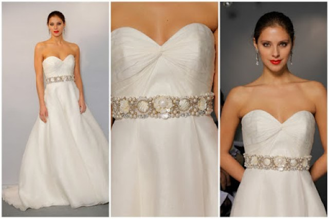 Anne Barge Silk Wedding Dress with Beaded Belt
