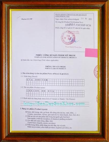 Kem dưỡng thể trang điểm toàn thân Eva Doctor được công bố với Cơ Quan Quản Lý Nhà Nước tại TP.HCM (Sở Y Tế TP.HCM). Giấy phép: 02554/ 13/ CBMP - HCM.