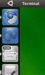 Tampilan fitur launcher di Ubuntu Natty Narwhal