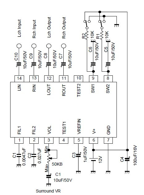 audio amplifier circuit based on the ic tda7053 schematic diagram