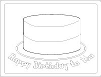 Printable Coloring Book Pages: Happy Birthday Cake