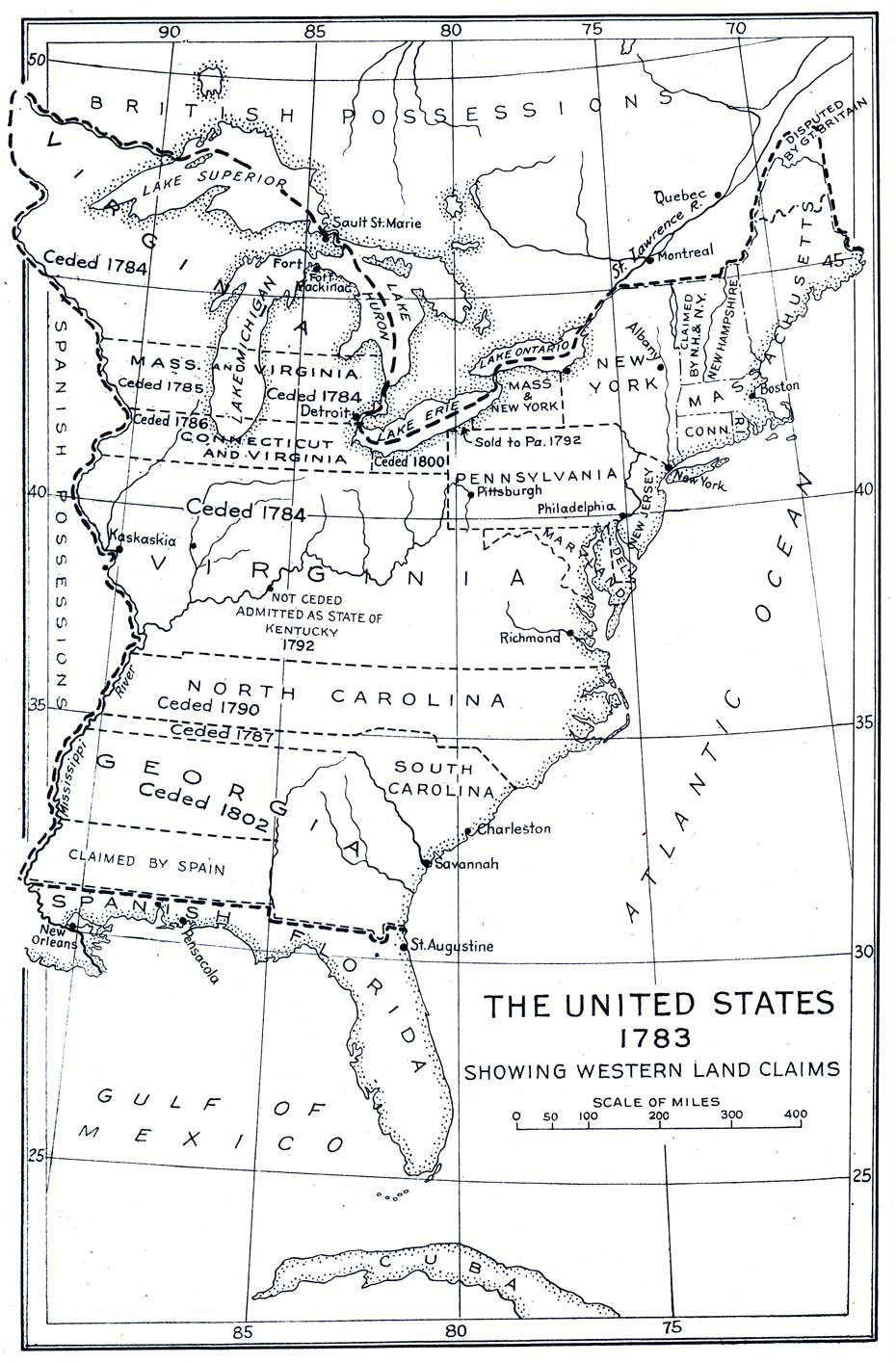 Maps: Us Map 1783