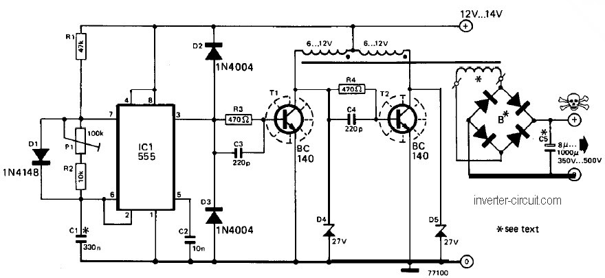 12v To 220v Inverter Circuit Diagram With 2n3055 HP