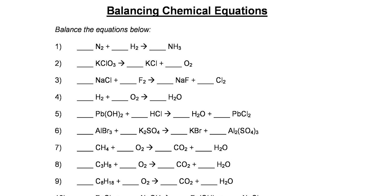 33 Balancing Chemical Equations Worksheet 1 Answer Key