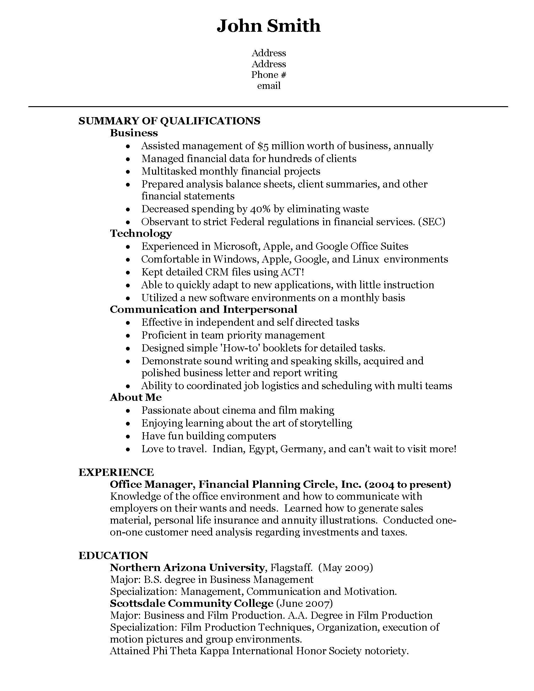 second job resume example