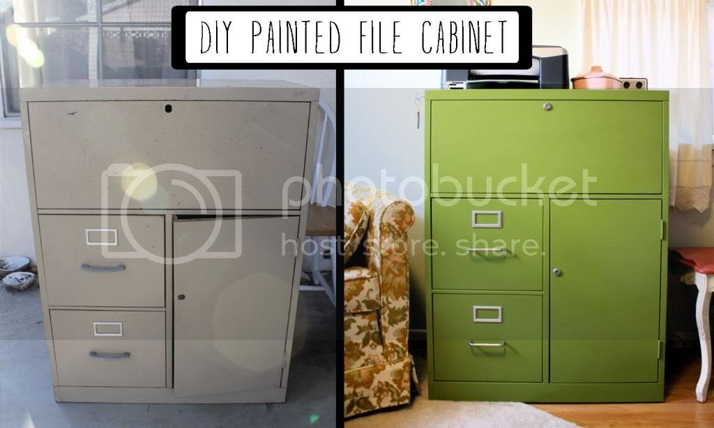 DIY Painted Filing Cabinet  Mint Green Sewing Machine
