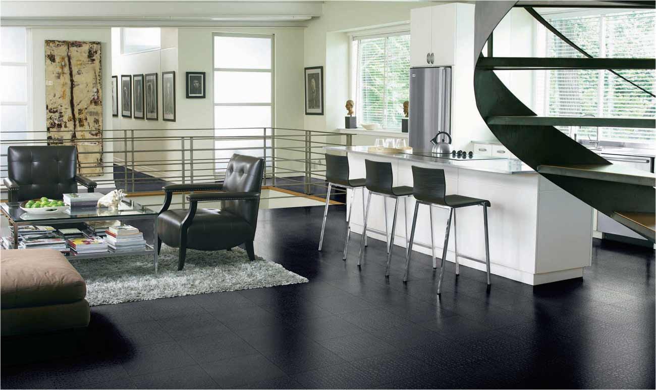 black tiles design for living room