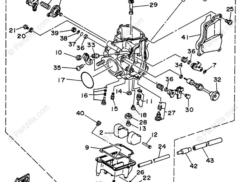 1996 Yamaha Kodiak 400 Carburetor Diagram