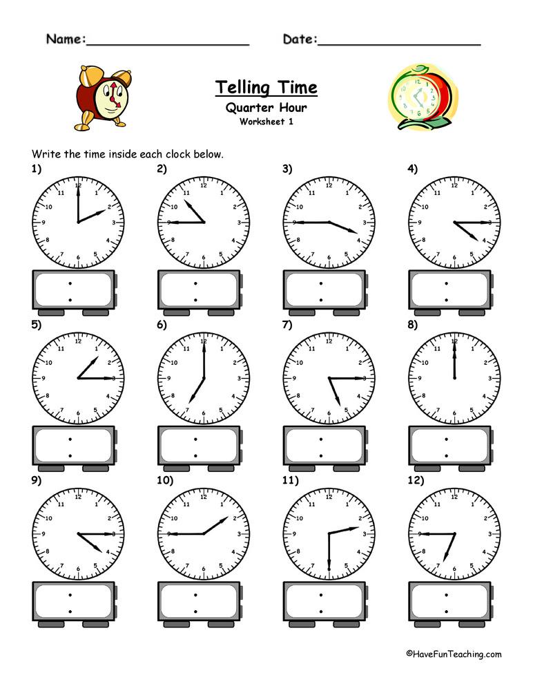 time worksheet: NEW 626 MATH WORKSHEETS TIME QUARTER HOUR