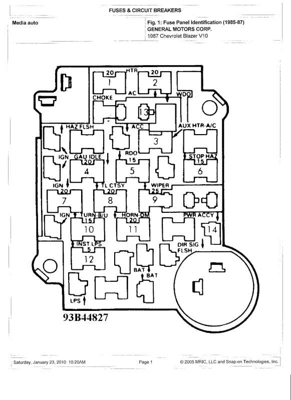 [DIAGRAM] 1987 Chevy C10 Fuse Diagram FULL Version HD