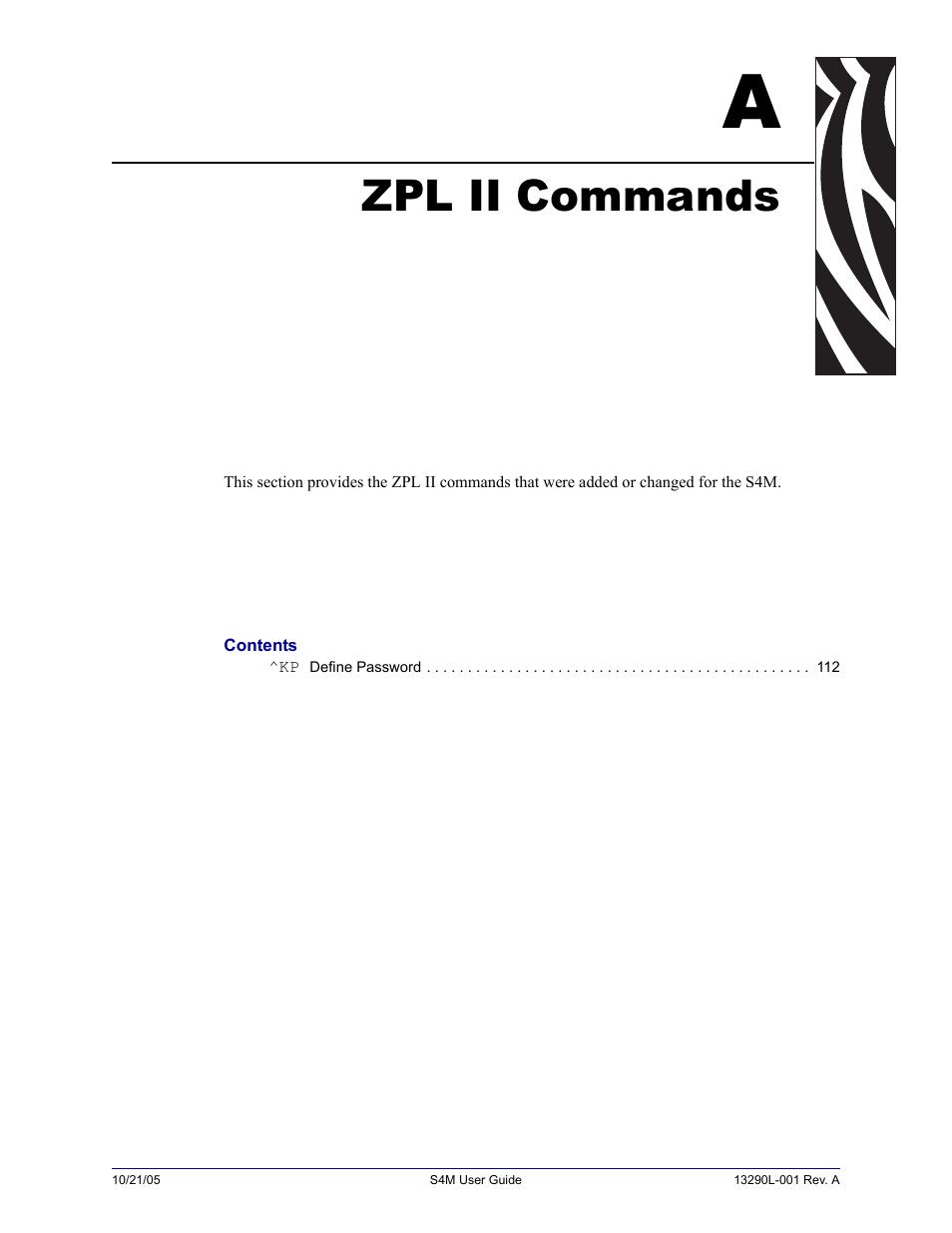 Zebra Commands
