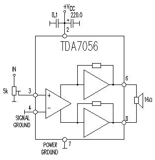 TDA7056 bassed audio amplifier integrated circuit with