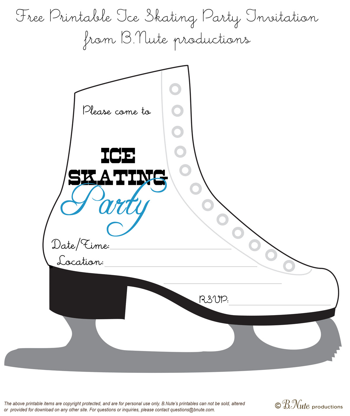 bnute productions: Free Printable Ice Skating Party Invitation