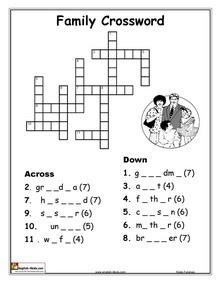 word crossword puzzles: English Vocabularyprintable