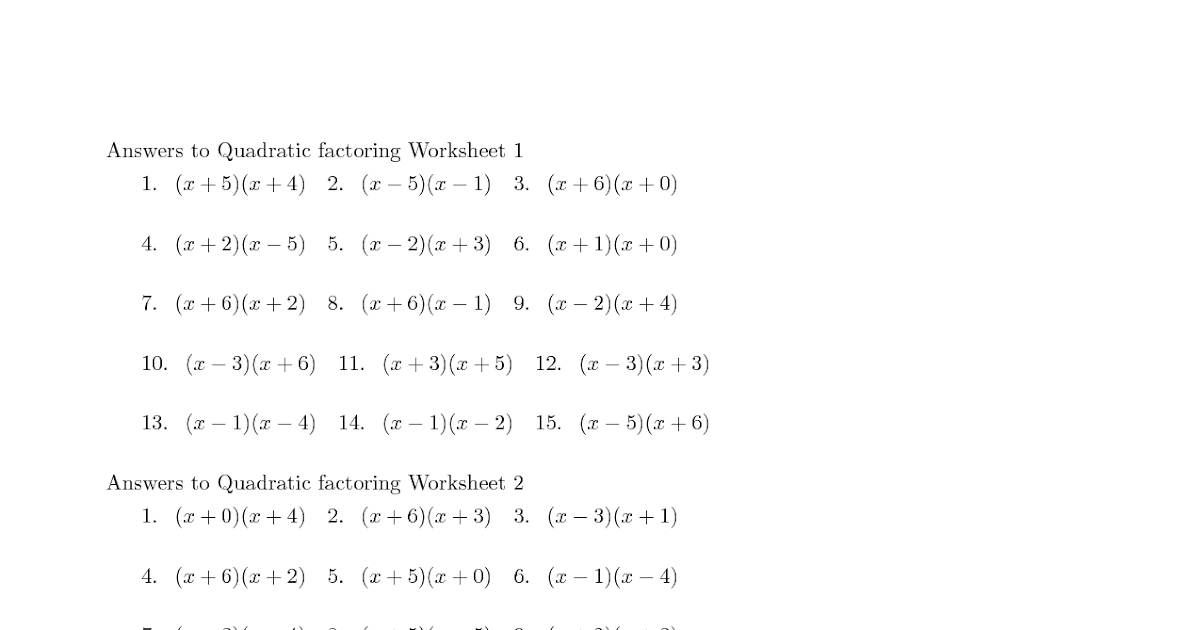 27 Factoring Quadratic Expressions Worksheet Answers