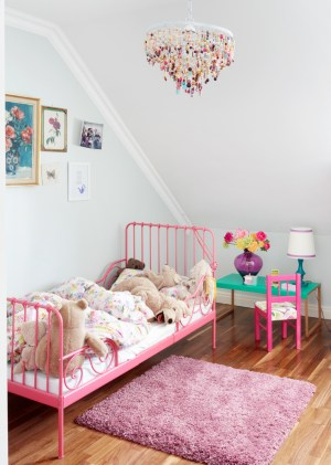 bed toddler chandelier metal ikea bedroom pink rooms minnen wall simple colorful frame paint painted beds bright sweet colors especially