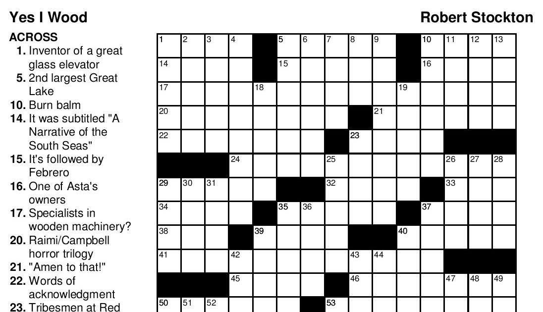 Easy Printable Crossword Puzzles For Seniors With Answers