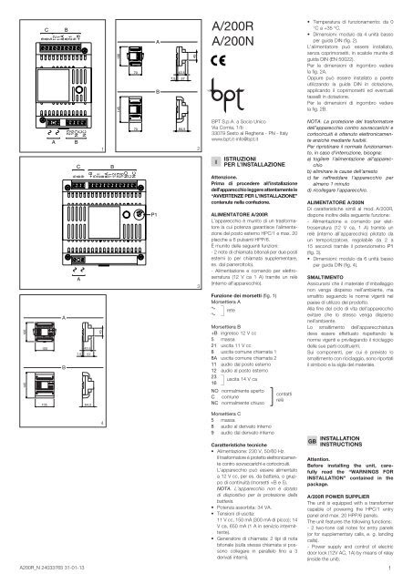 Schema Interphone Bpt A200r Pdf