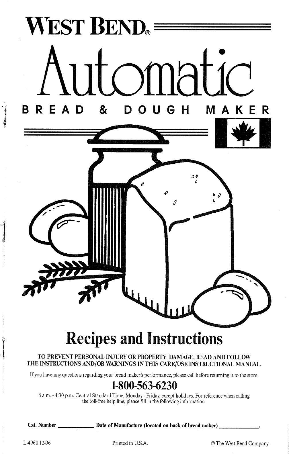 West Bend Automatic Bread And Dough Maker Recipe Book