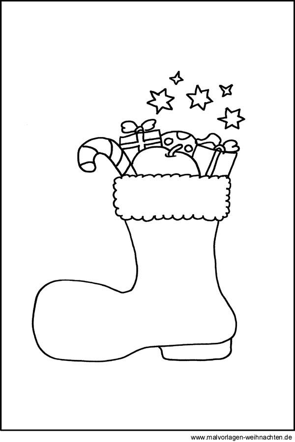 Weihnachtsstiefel als Malvorlage - Stifel an Nikolaus als
