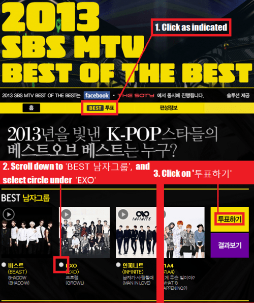 EXO - Daily: [VOTE] EXO is nominated under the 'Best Male Group' category at the '2013 SBS MTV Best of the Best'