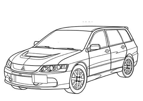 alphabet coloring sheets: Mitsubishi Lancer Evolution