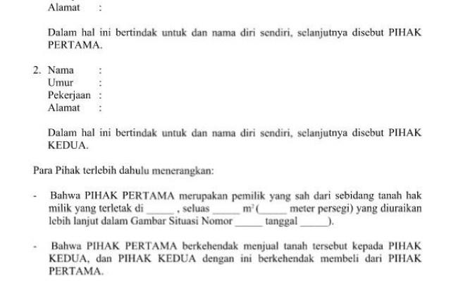 Contoh Surat Perjanjian Jual Beli Tanah Doc Malaysia Contoh Seputar Surat Cute766