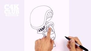 xenomorph drawing easy alien draw head chibi getdrawingscom roblox tutorial getdrawings