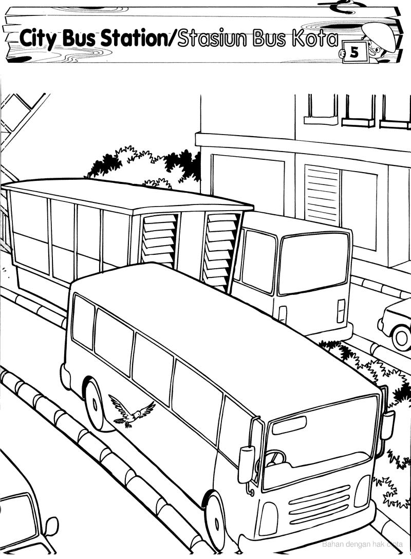 Gambar Bus Hitam Putih : gambar, hitam, putih, Gambar, Untuk, Mewarnai