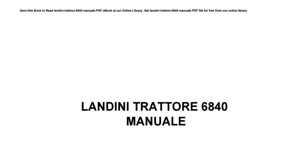Manuali Trattori Landini Pdf