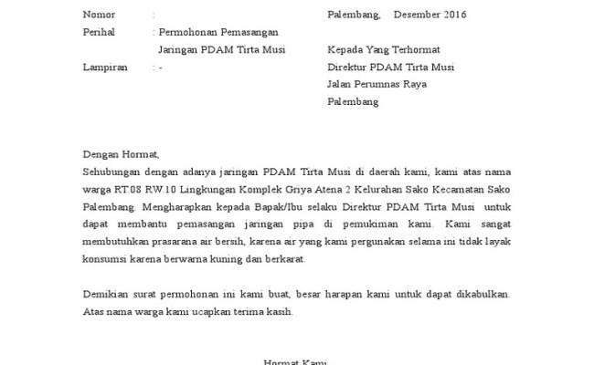 Contoh Surat Permohonan Keringanan Pembayaran Pdam Contoh Seputar Surat Cute766