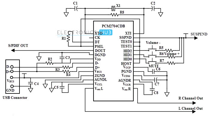 usb sound card circuit diagram