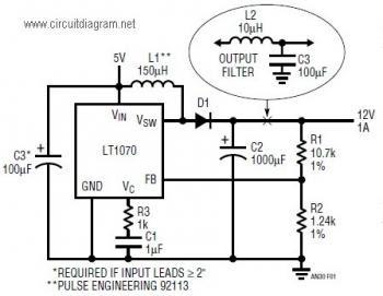 LT1070 Boost Converter Circuit, 5VDC to 12VDC