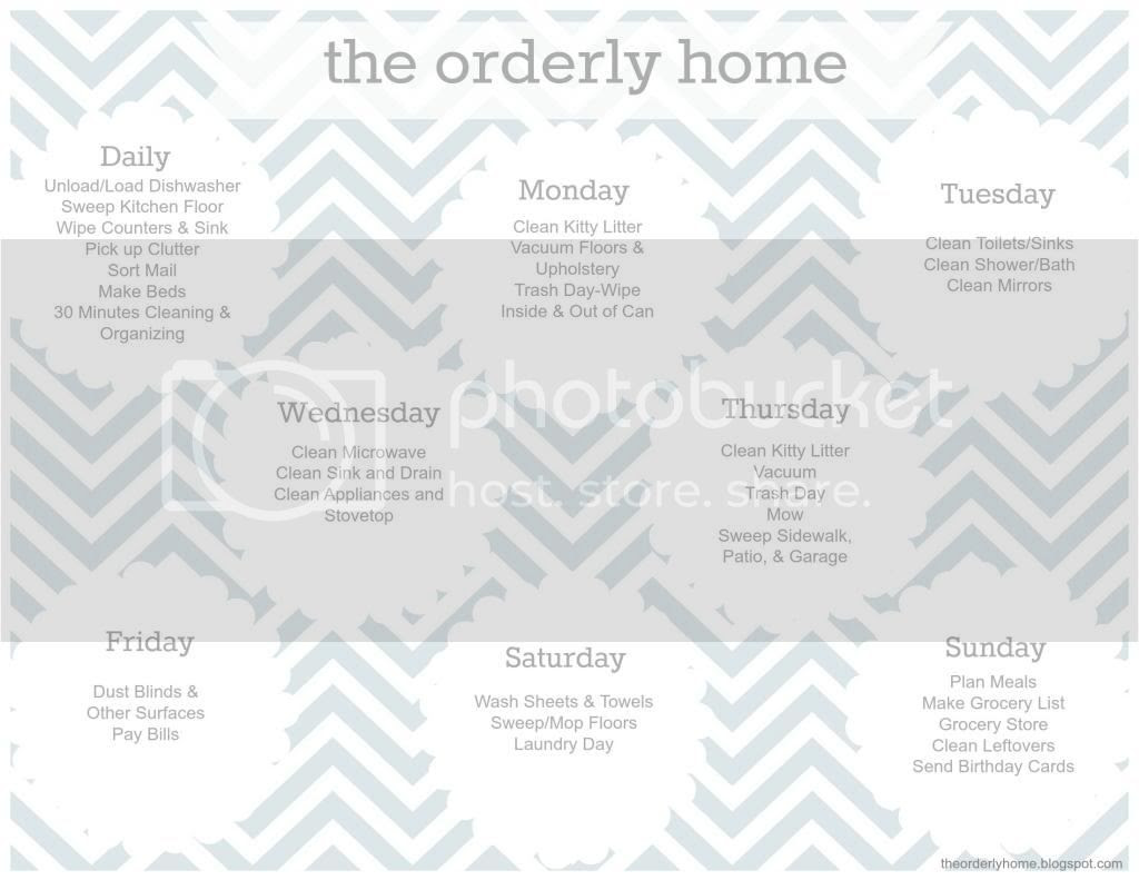 The Orderly Home: My Cleaning and Organizing Schedule