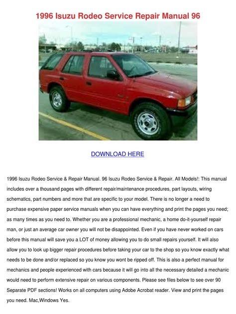 Download Link free 1996 isuzu rodeo repair manual Free