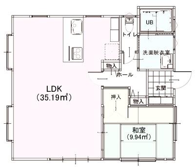 平屋の間取りを考えよう!: 1LDK・正方形の敷地