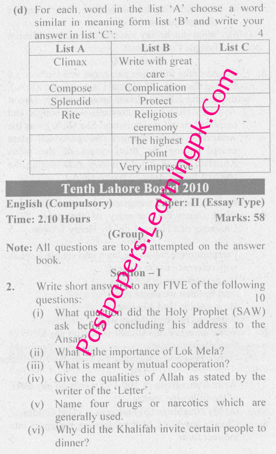 Lahore Board 10th Class English Old Paper, Guess Solved