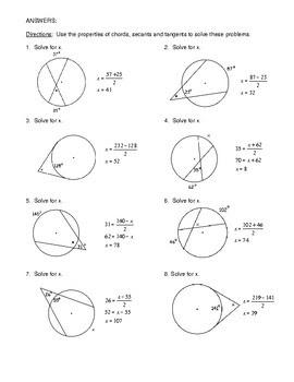 Unit 10 Circles Homework 5 Inscribed Angles Answer Key