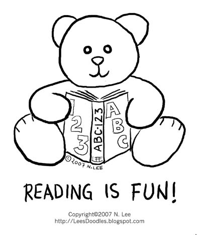 lee's things: Reading is fun! [colouring sheet]