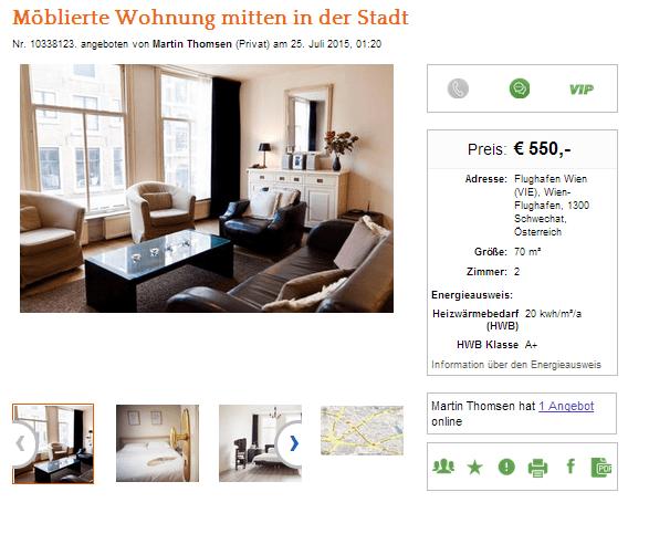 wohnungsbetrugblogspotcom Mblierte Wohnung mitten in der Stadt Flughafen Wien VIE Wien