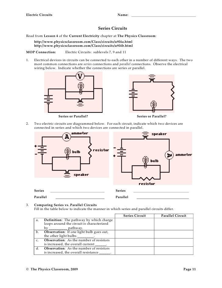 Circuits Worksheet Answers : circuits, worksheet, answers, Electric, Circuits, Worksheet, Answers, Spreadsheet