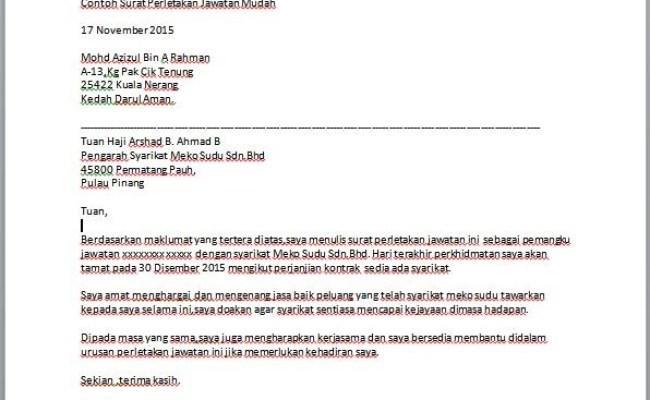 Contoh Surat Perletakan Jawatan Notis 1 Bulan