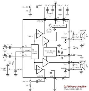 7W Stereo Audio Amplifier based LM4756 « Audio Circuit