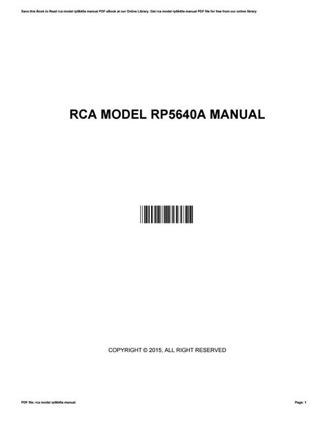 Download AudioBook rca model rp5640a manual GET ANY BOOK