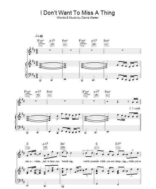 Chord Lagu I Don't Wanna Miss A Thing : chord, don't, wanna, thing, Kumpulan, Chord, Lagu:, Aerosmith, Don't, Thing