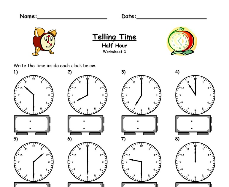 time worksheet: NEW 807 TIME WORKSHEETS HALF PAST