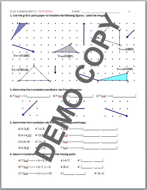 34 Worksheet 95 Composite Transformations Prep Answer Key